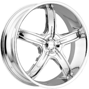 Akuza Lever 28 Chrome Wheel / Rim 5x4.75 & 5x5 with a 13mm Offset and a 83.7 Hub Bore. Pa