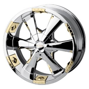 "Baccarat Allure 2120 Chrome Wheel with Gold Facet (22x9.5""/10x127mm)"